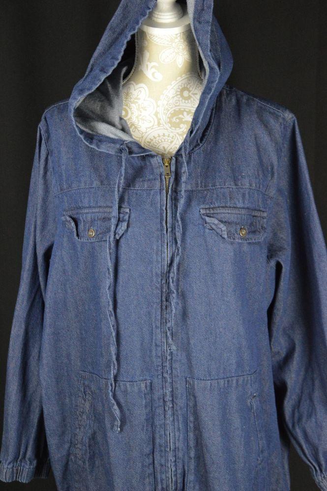 Roamans Plus Size Womens 22W Blue Jean Denim Zip Up Hoodie Jacket Long Sleeve #Roamans #Hoodie