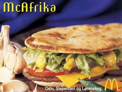 The McAfrika had beef, cheese, and tomatoes on a pita sandwich. The sandwich caused a spate of negative publicity in 2002 after it was released during famines in southern Africa. McDonald's apologized and pulled the item.