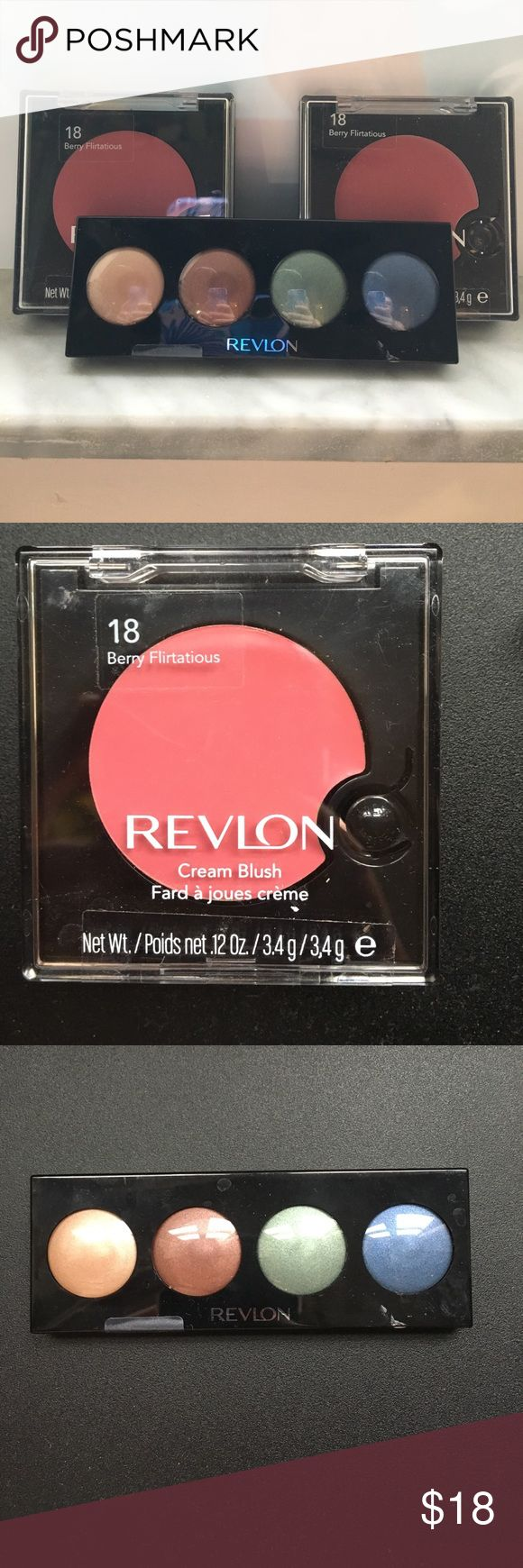 NWT Revlon Makeup Bundle NWT Revlon makeup bundle || 2 Berry Flirtatious cream blush & a Moonlit Jewels eyeshadow palette. Containers have some scratches but they have never been opened. The stickers keeping them closed from being opened are still on them. Revlon Makeup Blush