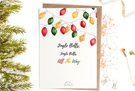 Printed Watercolor cards Christmas Jingle bells от WhiteWildRose