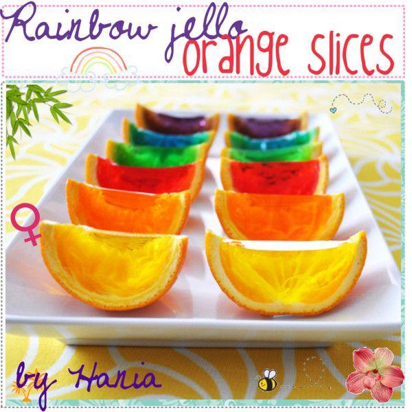 """""""Rainbow jello orange slices (:"""" by xothetipgirls on Polyvore"""