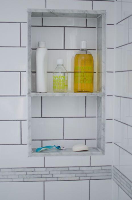 carrara marble shower niche sides surround without center