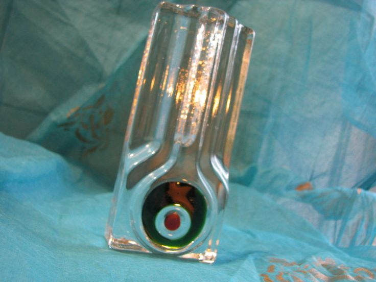 Op Art Solifleur Vase – Clear German Walther Glass – Sixties 1960s 1970s – Mid Century Design – vintage – Magic Eye / Target / Bull's Eye von everglaze auf Etsy