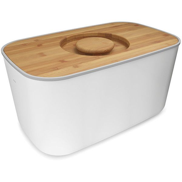 Joseph Joseph Steel Bread Bin - White ($77) ❤ liked on Polyvore featuring home, kitchen & dining, food storage containers, white, steel bread box, bread storage bin, white bread box and joseph joseph bread bin