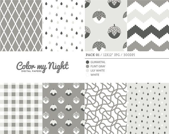 Digital Paper Neutral 'Pack01' Chevron Gingham by ColorMyNight