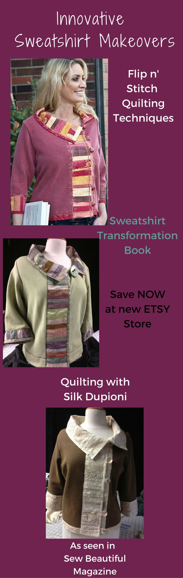 Flip n' Stitch quilting techniques to sew a sweatshirt makeover with this sewing pattern book of 8 sweatshirt transformation designs.  https://www.etsy.com/listing/259030600/sweatshirt-transformations-sweatshirt?ref=shop_home_active_3