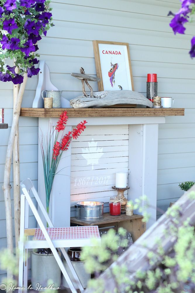 Diy rustic faux front porch mantle