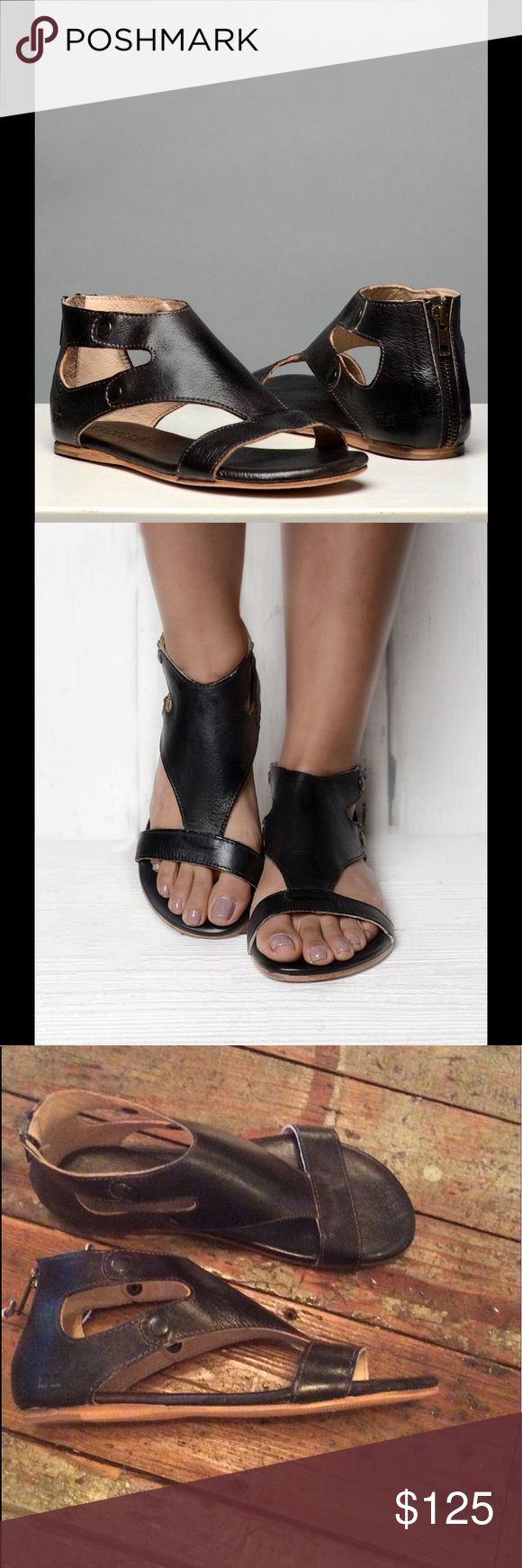 Bed Stü Soto Sandal in Black Rustic Genuine full grain leather sandal with stylish cutouts. Hand stitched. Bed Stu Shoes Sandals