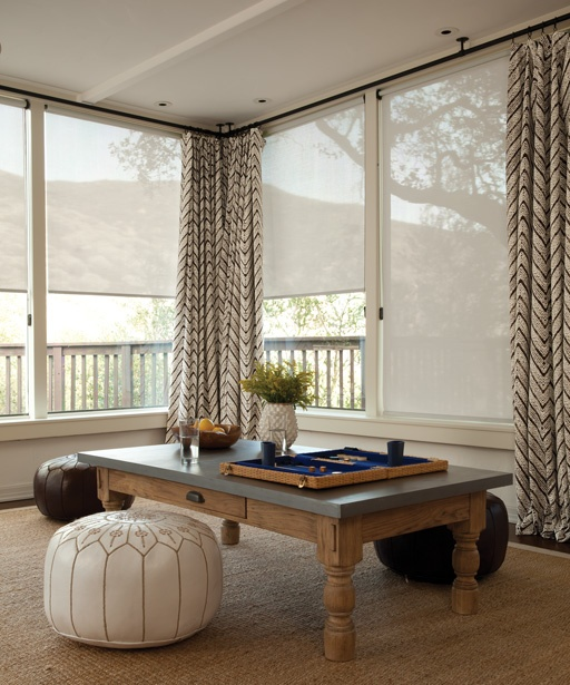 Solar Roller Shades in 13089 Software/Blanca with Loop Control and Fabric Wrapped Bottom Bar, layered with Soft Top Drapery in 15197 Sumba/Driftwood