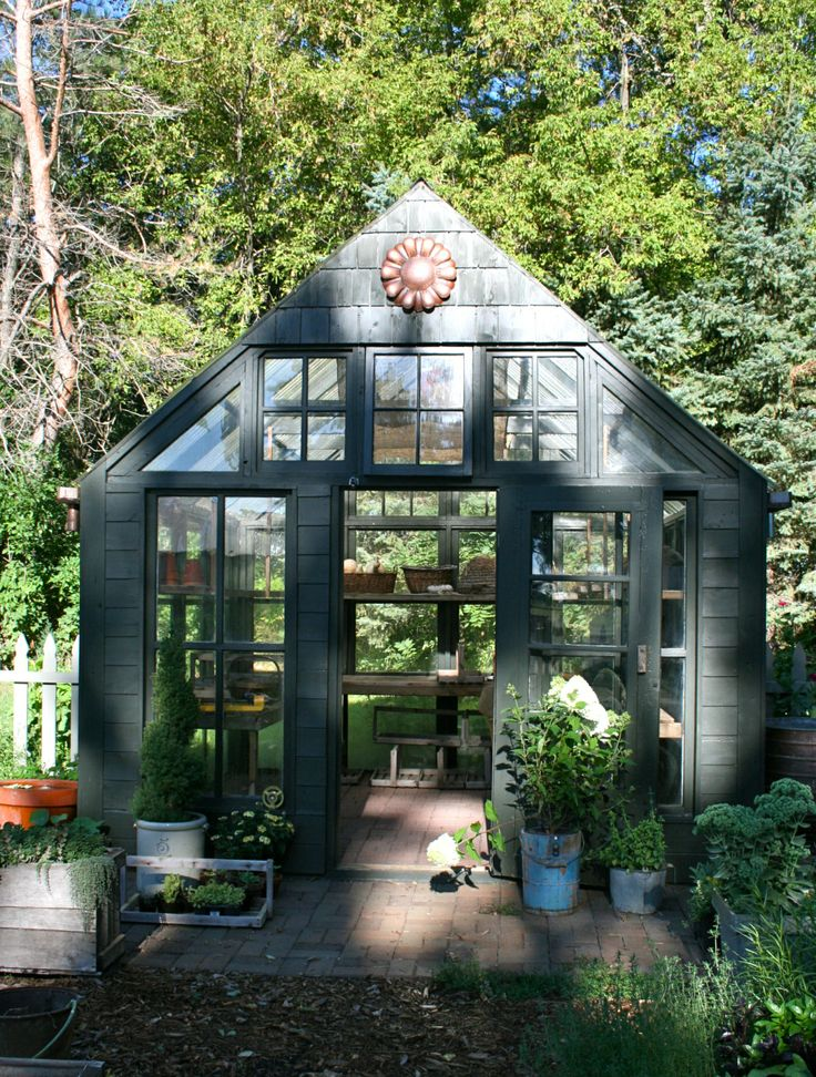 Beautiful modest black greenhouse with brick floor and