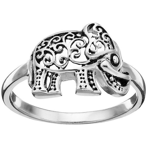 Primrose Sterling Silver Filigree Elephant Ring ($18) ❤ liked on Polyvore featuring jewelry, rings, grey, elephant jewelry, sterling silver jewellery, sterling silver rings, elephant jewellery and filigree jewelry