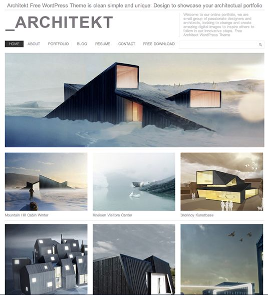 25 Top Free Wordpress Themes. Architekt Theme. @ http://www.creativebloq.com/web-design/free-wordpress-themes-712429#