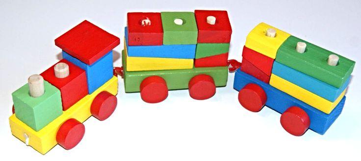 Pociąg drewniany kolorowy mały POLSKI