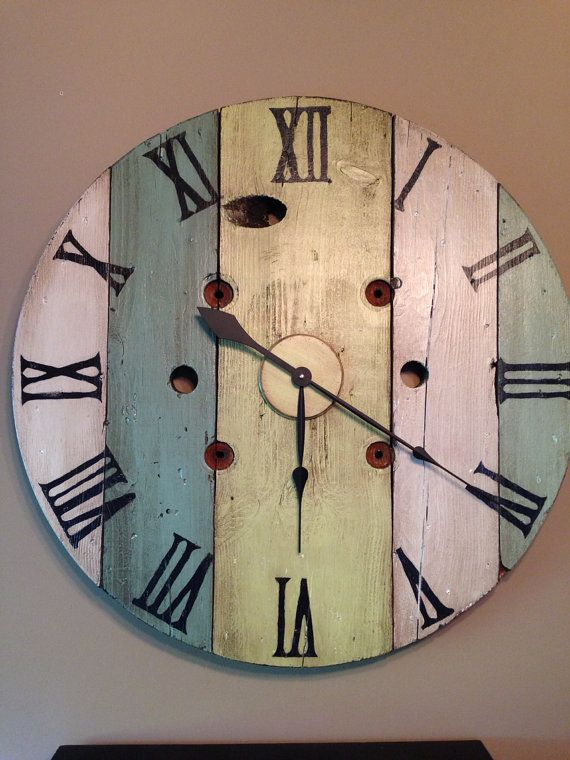 Vintage wood spool wall clock hand painted by thelittlegreenbean, $175.00