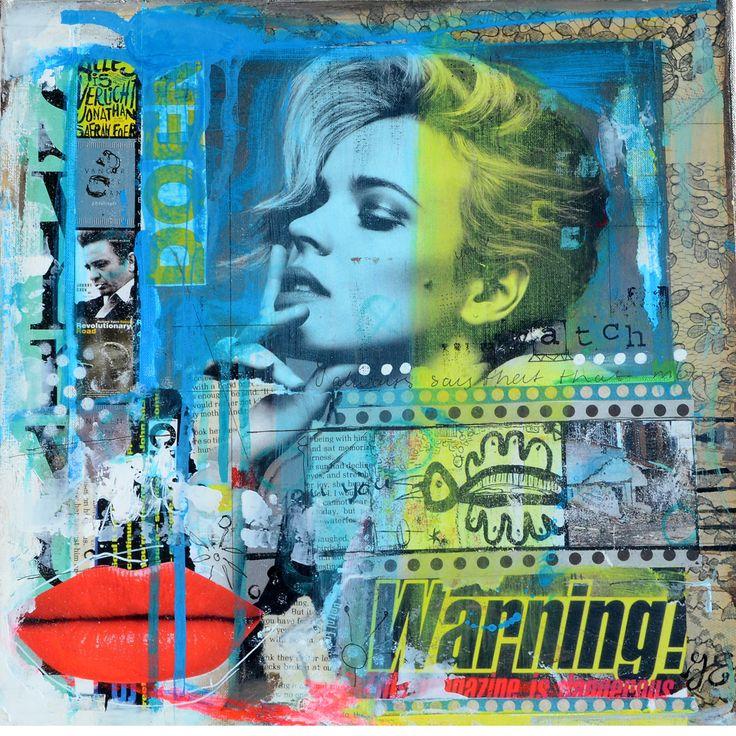 'This way', 30x30cm, acryl en mixed media op doek.