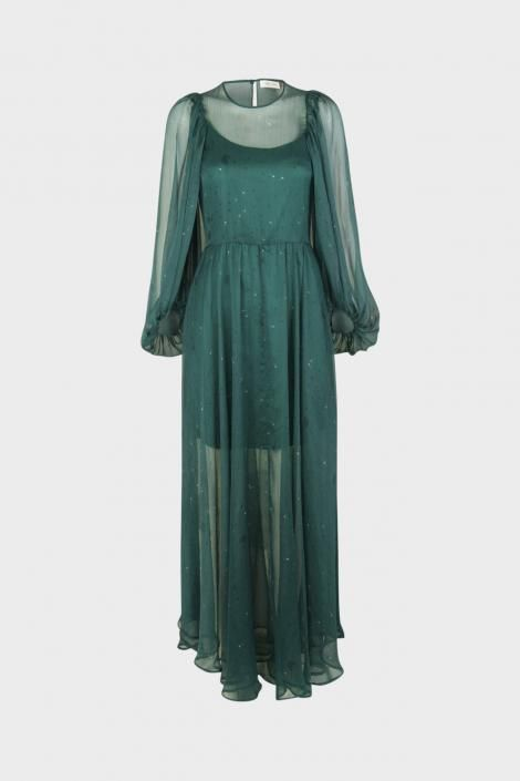 68166fbb Lang kjole fra Stine Goya i en flot grøn farve med mælkebøtte print SG1408  Ally,