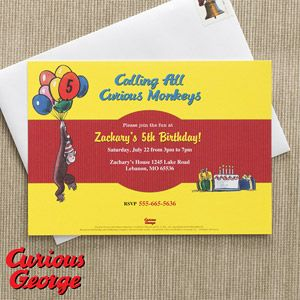 "Personalized Curious George Birthday Party Invitations! Customize them with their name and 6 lines of all your party info! LOVE how it starts off with ""Calling All Curious Monkeys"" at the top! #CuriousGeorge #Invitations"