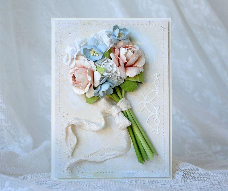 Handmade beautiful flower bouquet card - Pastellipäivä.