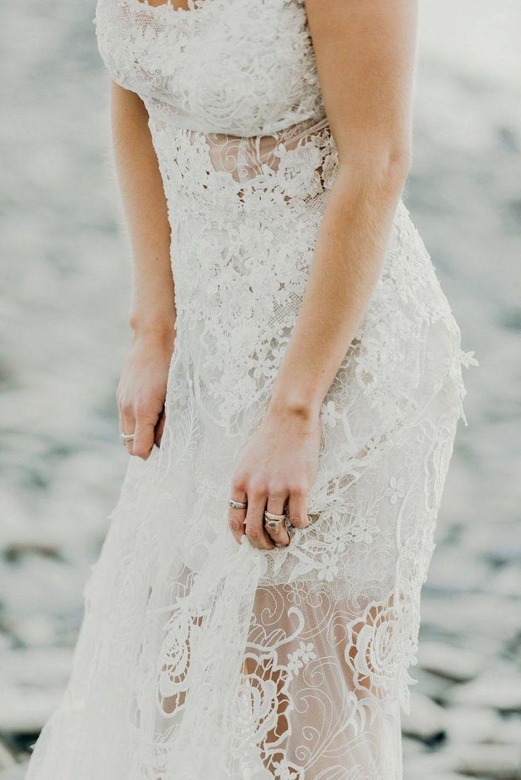 bride wearing bohemian couture yolan cris lace wedding dress