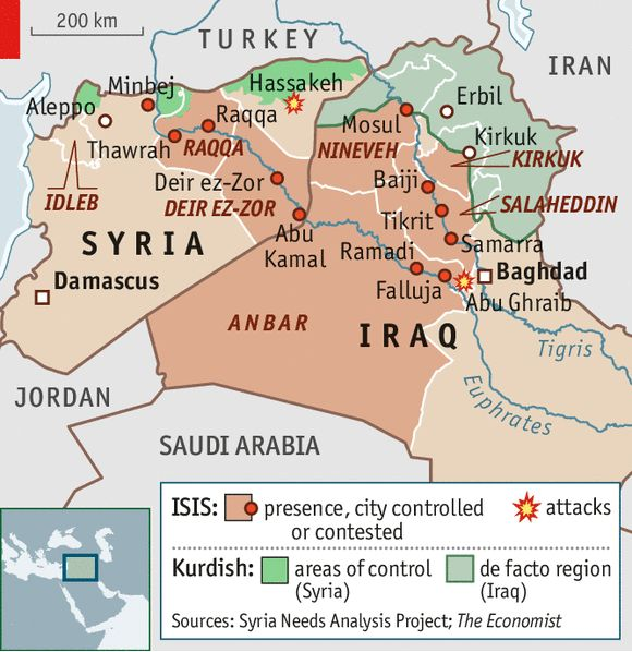 The Islamic State of Iraq and Greater Syria: Two islamic light - SELF GOVERENED) Arab countries fall apart | The Economist