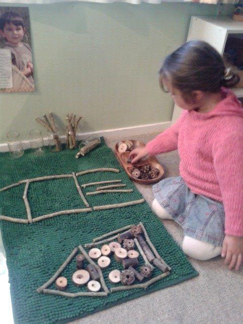 "Natural resource creation at Tu Tamariki - Play Based Learning ("",) using all those sticks we collect"