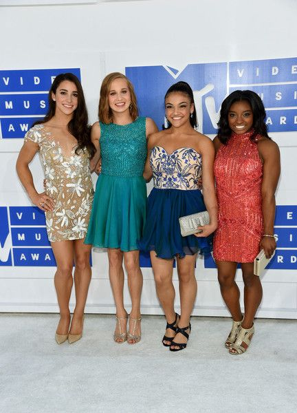 Aly Raisman, Madison Kocian, Laurie Hernandez and Simone Biles in Glitzy Cocktail Dresses - Best Dressed at the 2016 MTV VMAs - Photos
