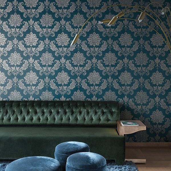 This teal and gold damask wallpaper teamed with gold accessories is guaranteed to add a bit of glamour to your home! Escala Collection by Galerie - ES18027R