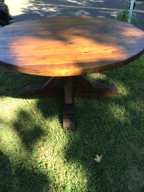 Round, Thick Table With Crossbuck Pedestal Base. Reclaimed Pine Table Top  With Reclaimed Pine And Poplar Pedestal
