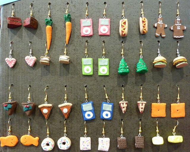 Sculpey earrings by PaperYarnGirl, via Flickr