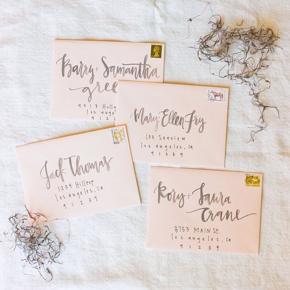 She does calligraphy addresses! Check it out. Blush and Grey Watercolor Envelope Calligraphy by afabulousfete