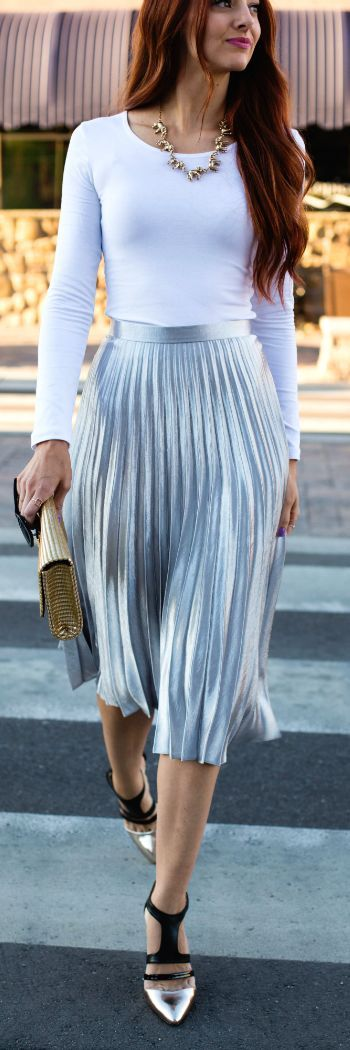Street styles | Bright Silver Accordion Pleat High Rise Mildi Skirt