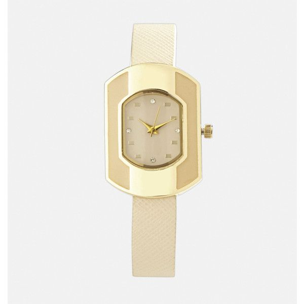 Avenue Rectangular Beige Strap Watch ($18) ❤ liked on Polyvore featuring jewelry, watches, rectangle watches, flat watches, rectangular wrist watch, rectangular watches and stainless steel wrist watch