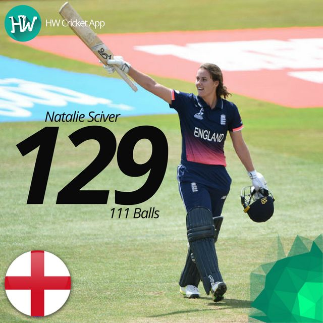 Yet another centurion! Natalie Sciver smashed an incredible 129 to propel England to a strong score! #WWC17 #ENGvNZ #ENG #NZ #cricket