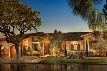 49 best exterior home plans images on pinterest for Single story mediterranean style homes