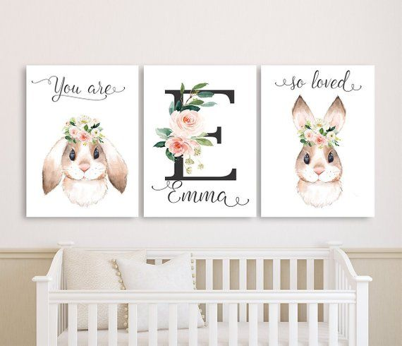Bunny Nursery Wall Art Canvases Baby Girl Personalized Etsy Bunny Nursery Nursery Canvas Baby Painting