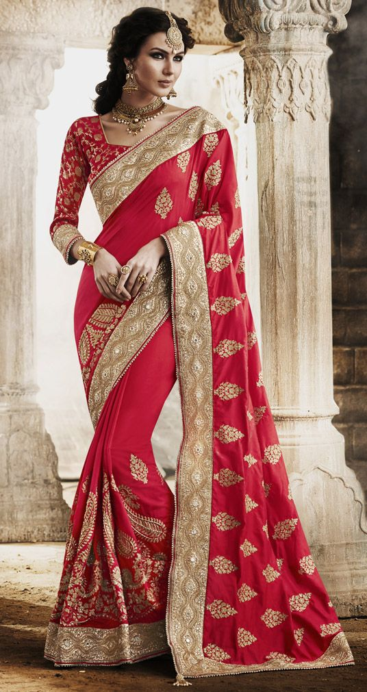 USD 188.35 Red Art Silk Wedding Saree 47370