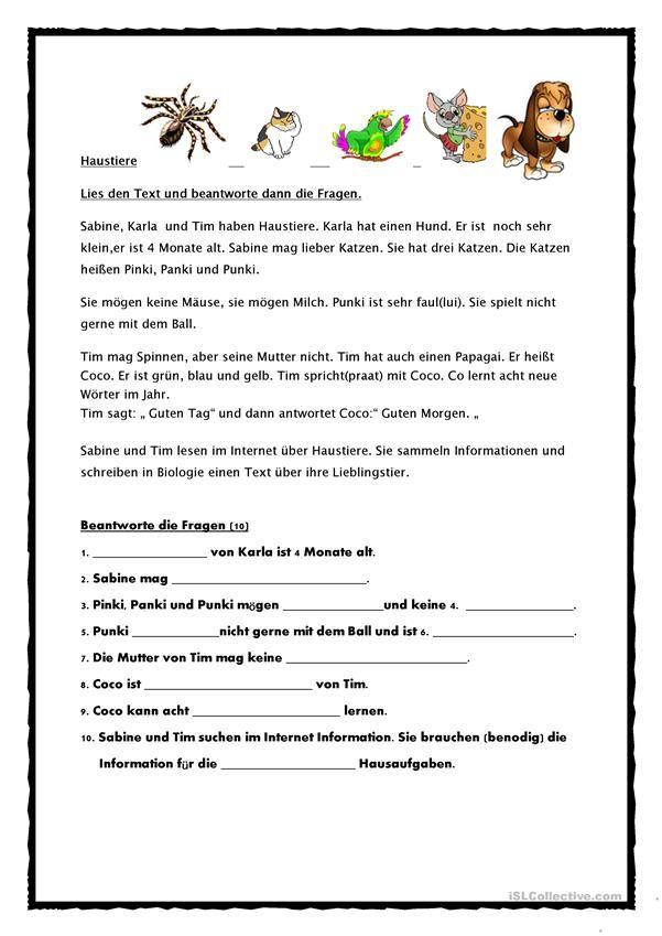 Tiere Leseverstehen A1 Lesen Text Auf Deutsch Lernen