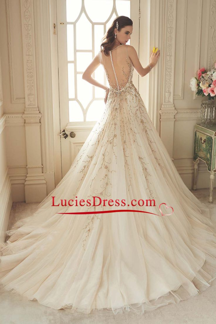 2016 Wedding Dresses A-Line V-Neck Chapel Train Tulle With Embroidery Covered…