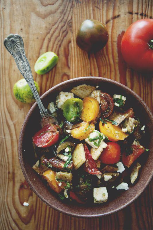 Heirloom tomato roasted eggplant salad with feta and crispy pita.--veganize..take out feta. duh