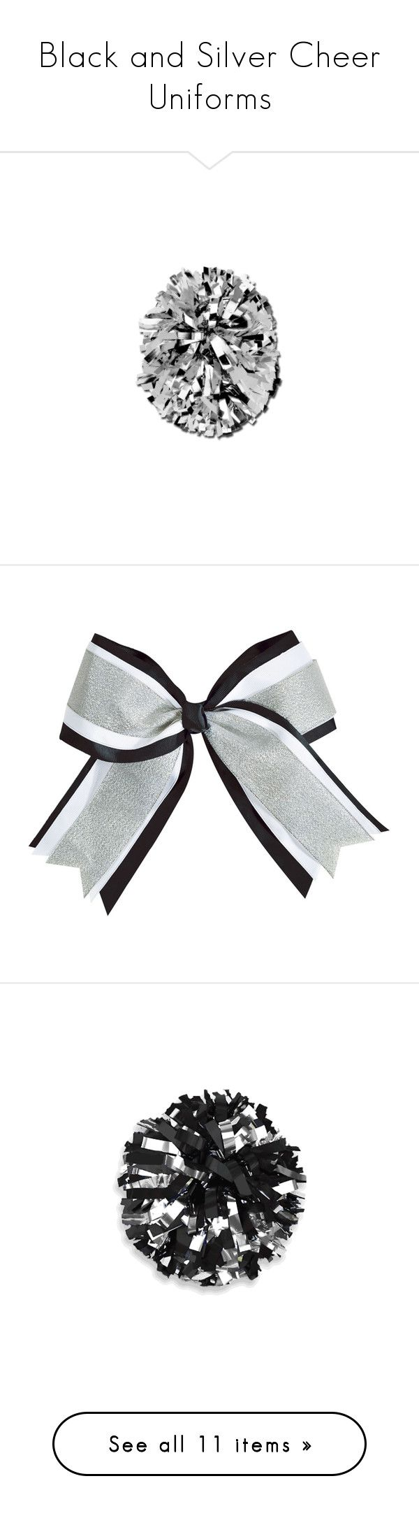 """Black and Silver Cheer Uniforms"" by galacticpeanut ❤ liked on Polyvore featuring cheer, cheerleader, dance, sports, cheerleading, accessories, cheer/dance, skirts, bottoms and metallic skirt"