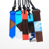 Home | P379 Fashion Women Men Necklace Handmade Vintage Resin Wood Explanation Necklaces & Pendants Long Rope Wooden Necklace Jewelry Gifts Random delivery