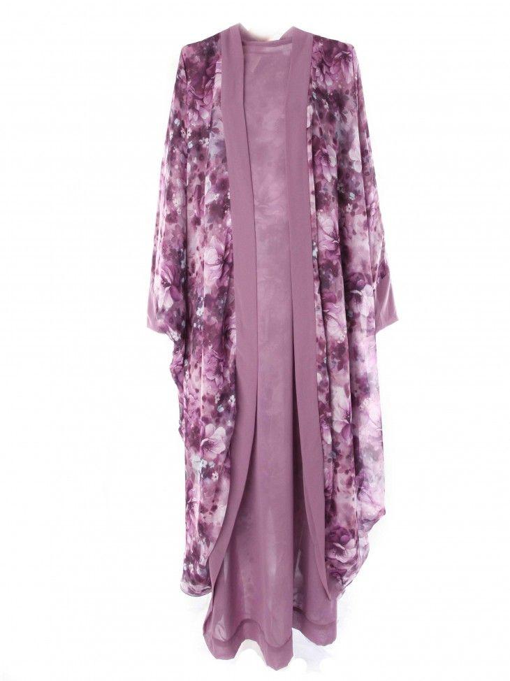 Purple Flower Chiffon Double Side Oversized Cardigan