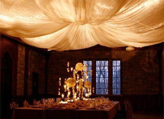Indoor wedding lighting with a parachute light centerpiece