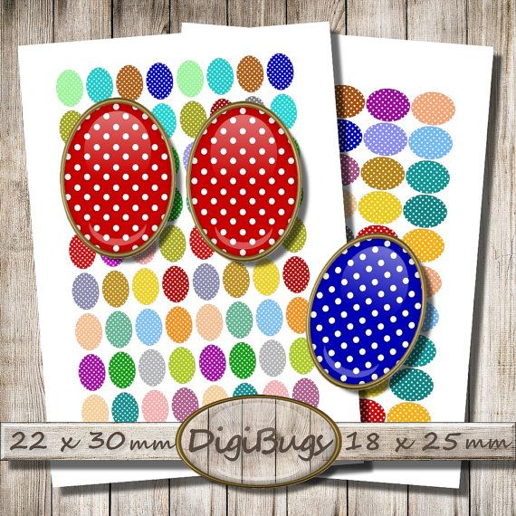 Digital Collage, DIY Earrings, Polka Dots, Oval Earring Images, 18 x 25 mm, 22 x 30 mm Ovals, Easter Jewelry Images, Printable Download, e1