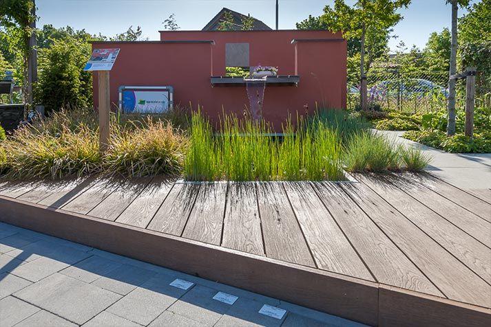 In deze onderhoudsvriendelijke voorbeeldtuin is op een beperkt aantal m2 een onderhoudsvrij terras van Solumvloeren grain Coppered Oak gerealiseerd. Er is tevens een vaste robuuste tafel, een geïntegreerd waterspel en vijver gerealiseerd. De stevige muren in een trendy kleur geven de vorm aan. De warme kleuren geven het geheel een huiselijke sfeer. De onderhoudsarme beplanting maken het geheel af.