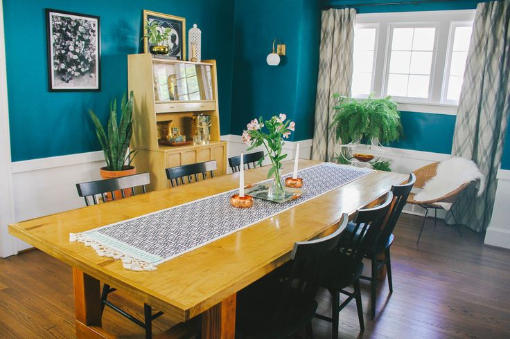 Bohemian Meets Scandinavian Teal Dining Room, DIY Dining Table