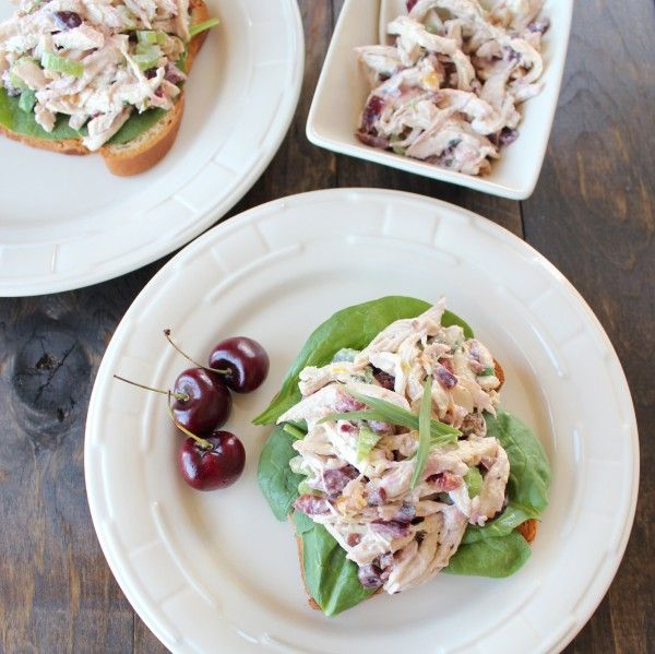 Cherry Tarragon Chicken Salad is filled with flavor and served on gluten free multigrain bread with spinach making it the perfect healthy gluten free lunch.