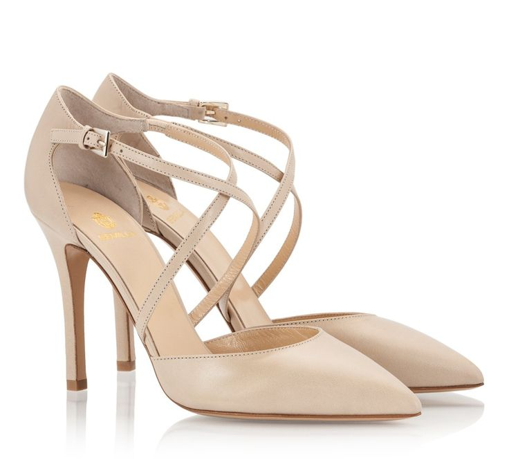 Semilla Beige nappa leather cross-vamp straps pointed single sole stiletto heel pumps