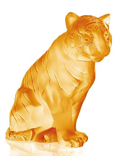 Lalique Large Sitting Tiger, Amber