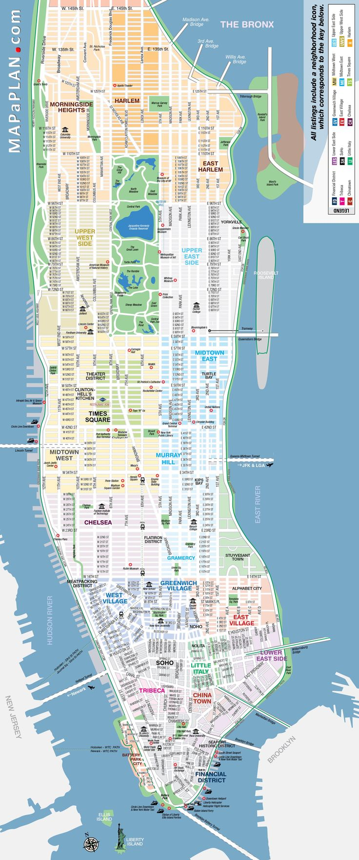 Best Manhattan Map Ideas On Pinterest Map Of Manhattan New - Ney york map
